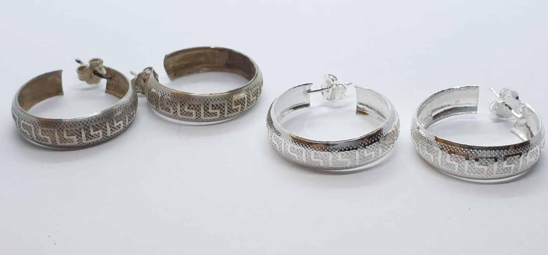 2 x pairs of silver EARRINGS.