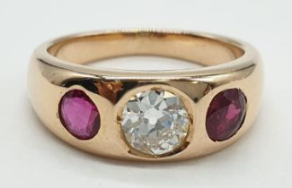 Gentlemen diamond and ruby ring with 1.65ct diamond centre (round brilliant cut) and 0.5ct ruby on