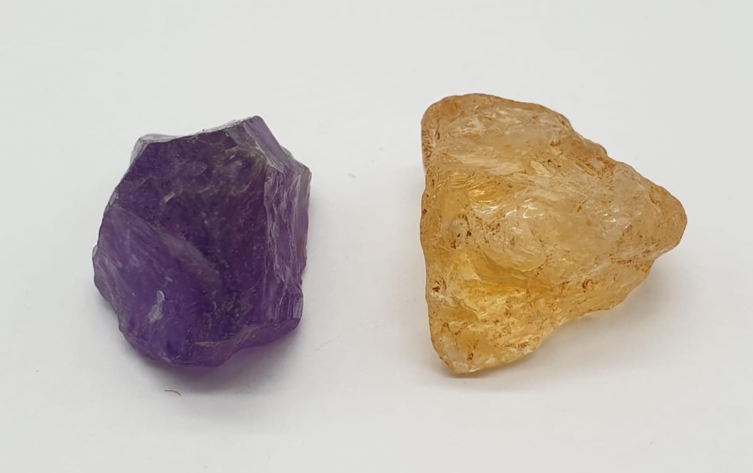 Total 30cts Amethyst and yellow topaz 2 large rough gemstones