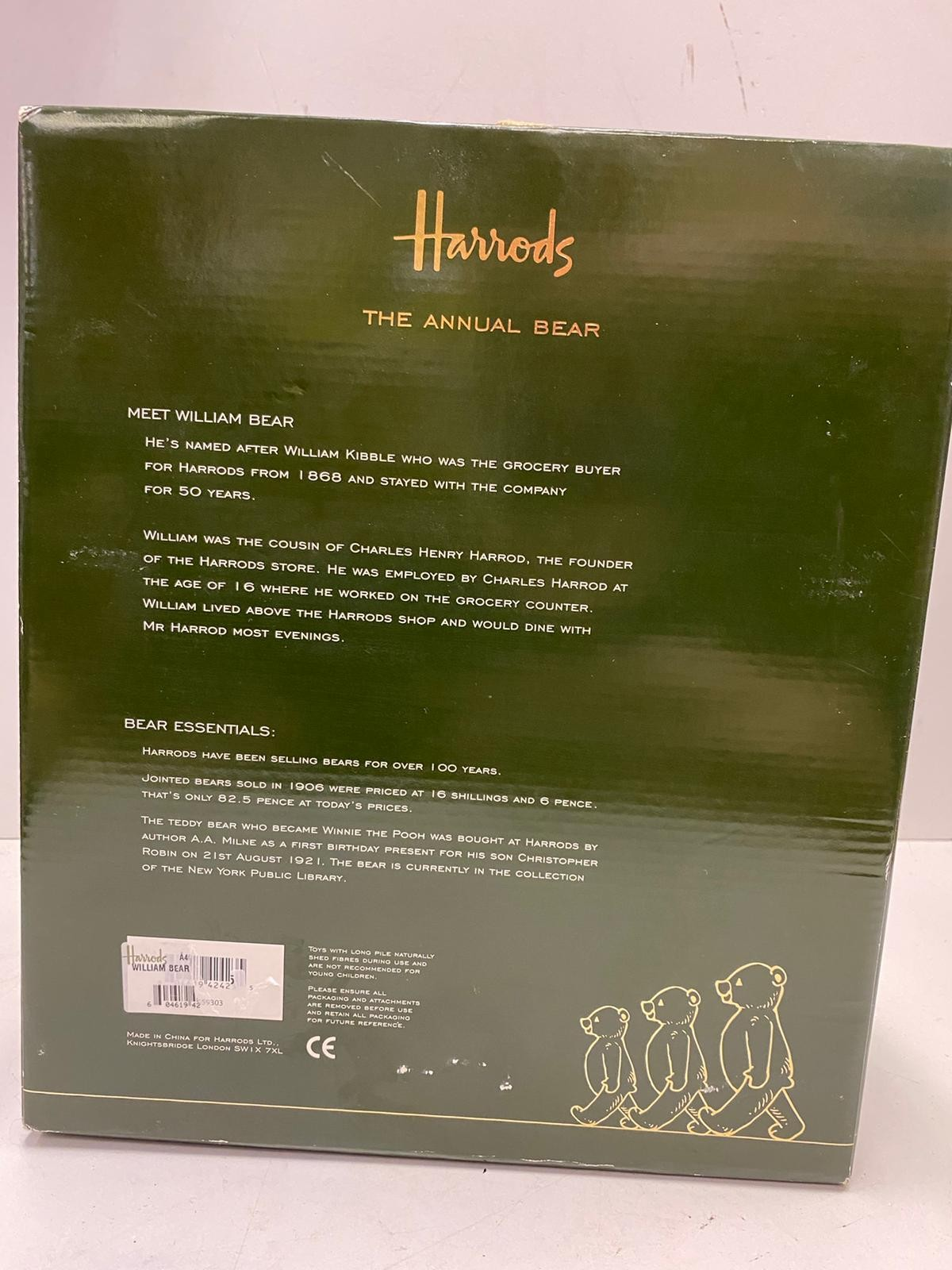 Harrods 2009 annual bear. Whose name is William. Still in original box. 50cm in height approx. - Image 3 of 3