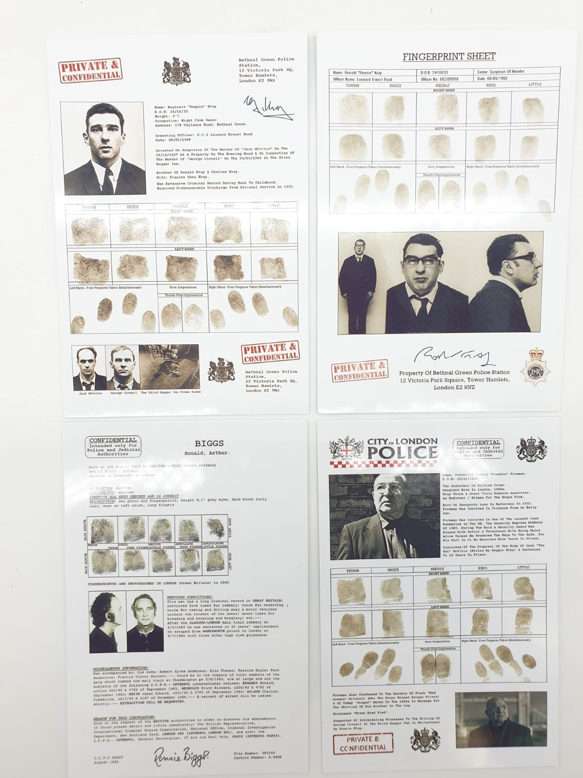City of London police confidential records for Freddie Foreman, Frankie Fraser, Ronnie Biggs, The
