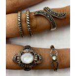5 x Silver RINGS. 16.9g