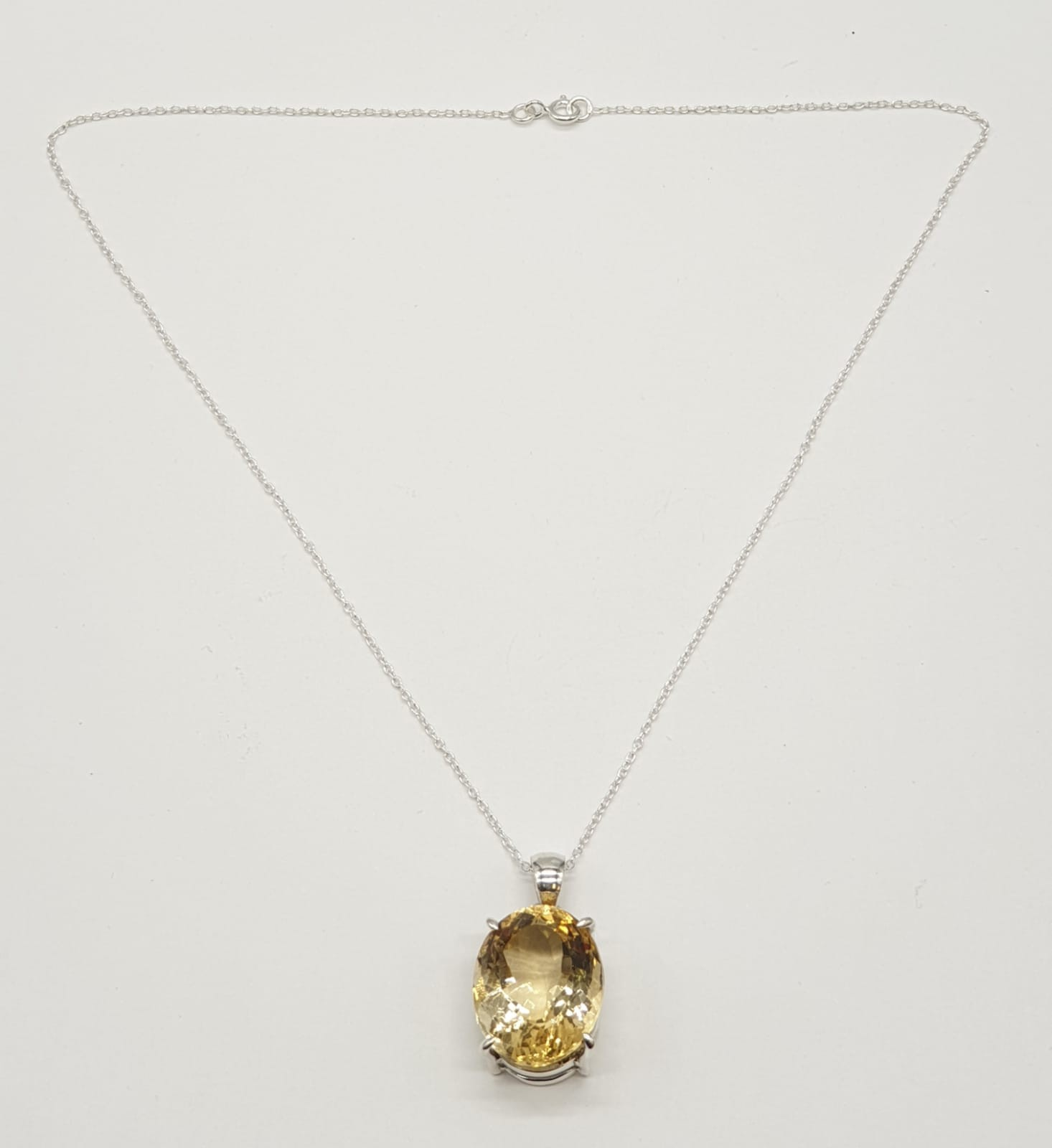 Citrine Gemstone Pendant set in Sterling Silver on a 40cm long silver chain, weight 10g approx and - Image 6 of 6