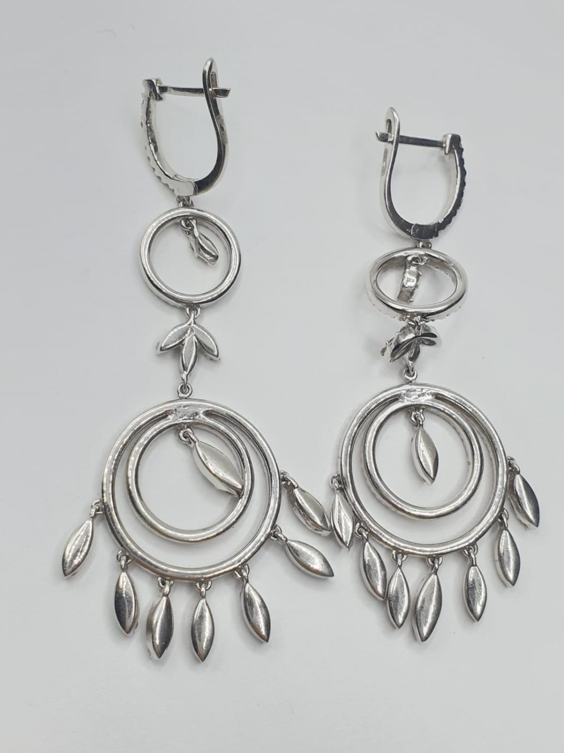 Pair of 18ct white gold and diamond drop earrings in the shape of dream catchers, weight 15.82g - Image 3 of 4