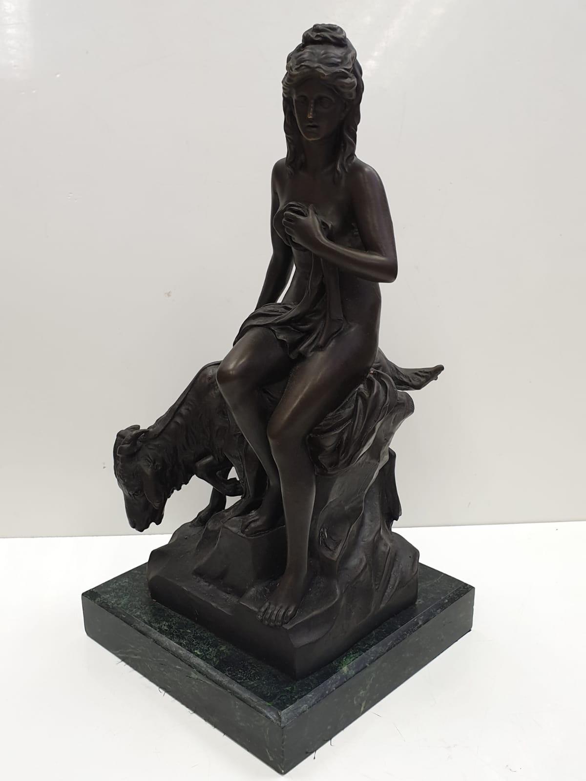 Bronze Pierre Julien figurine on plinth. 'Amalthea and Jupiter's Goat'. Height 45cm. Weight 9.7kg - Image 2 of 27