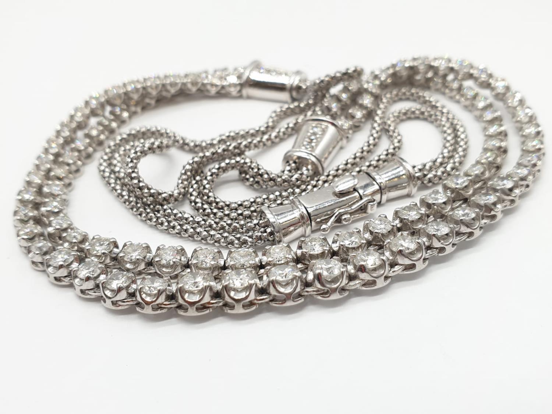 Platinum and Diamond Choker Necklace, double strand with graduated Diamonds (5ct Diamonds), 33g, - Image 4 of 9