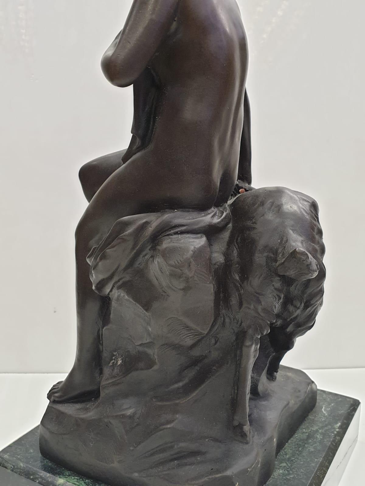 Bronze Pierre Julien figurine on plinth. 'Amalthea and Jupiter's Goat'. Height 45cm. Weight 9.7kg - Image 18 of 27