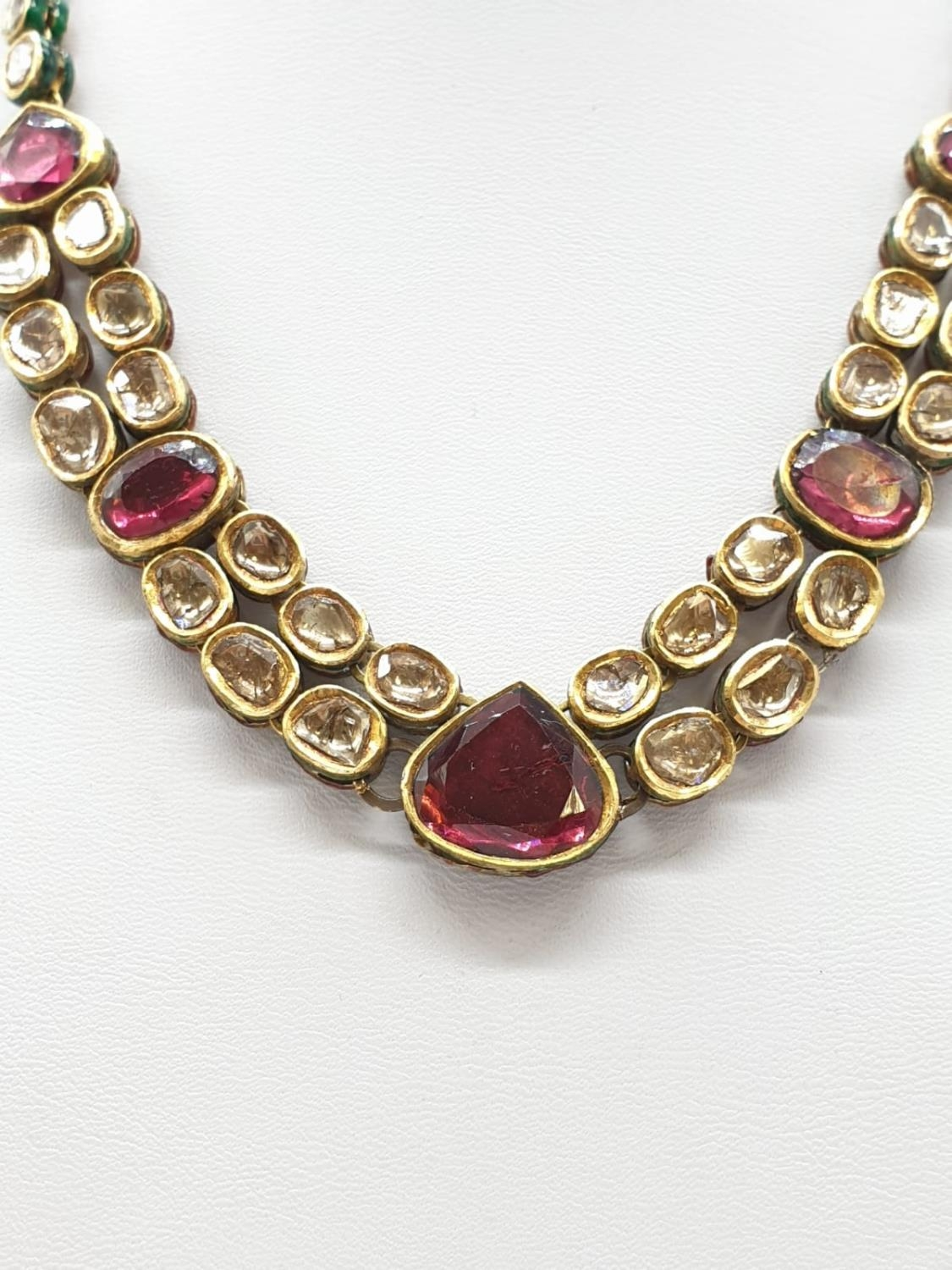 18k Indian set of Ruby and Rose Diamonds NECKLACE (40cm) and EARRINGS. 68g. - Image 5 of 9