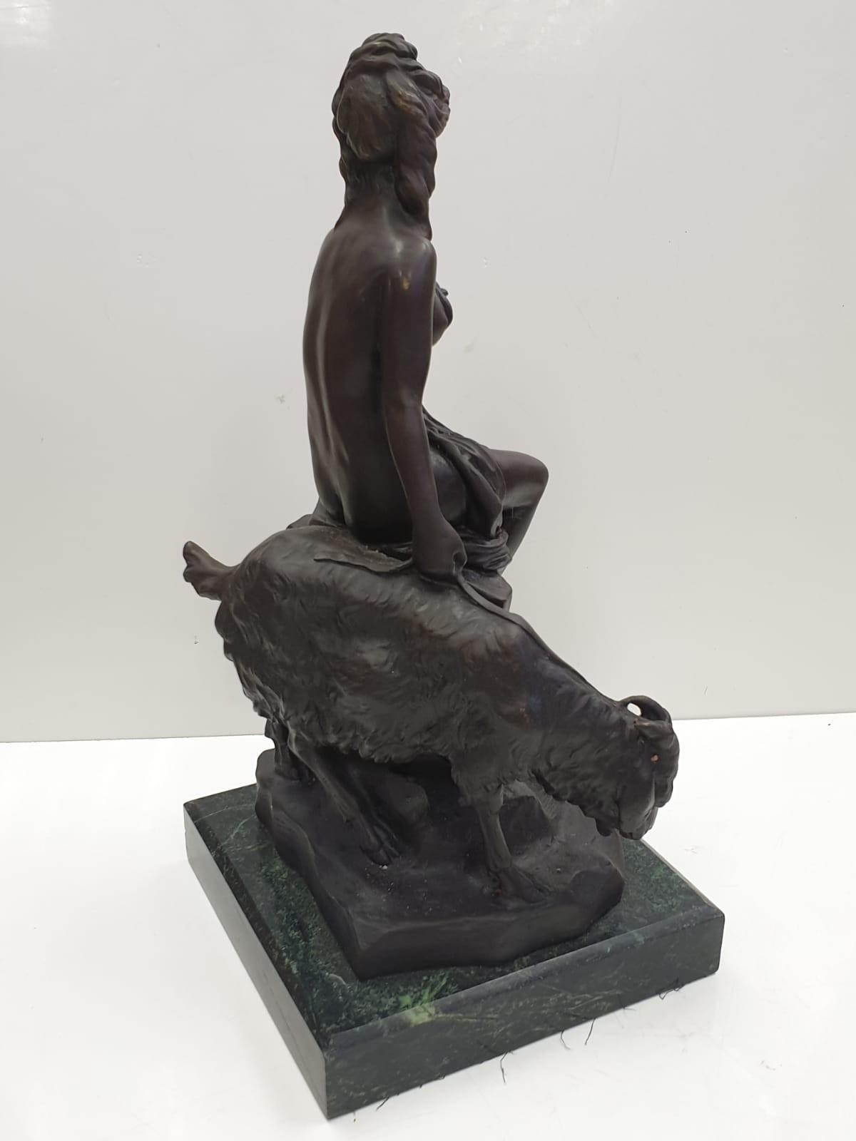 Bronze Pierre Julien figurine on plinth. 'Amalthea and Jupiter's Goat'. Height 45cm. Weight 9.7kg - Image 10 of 27