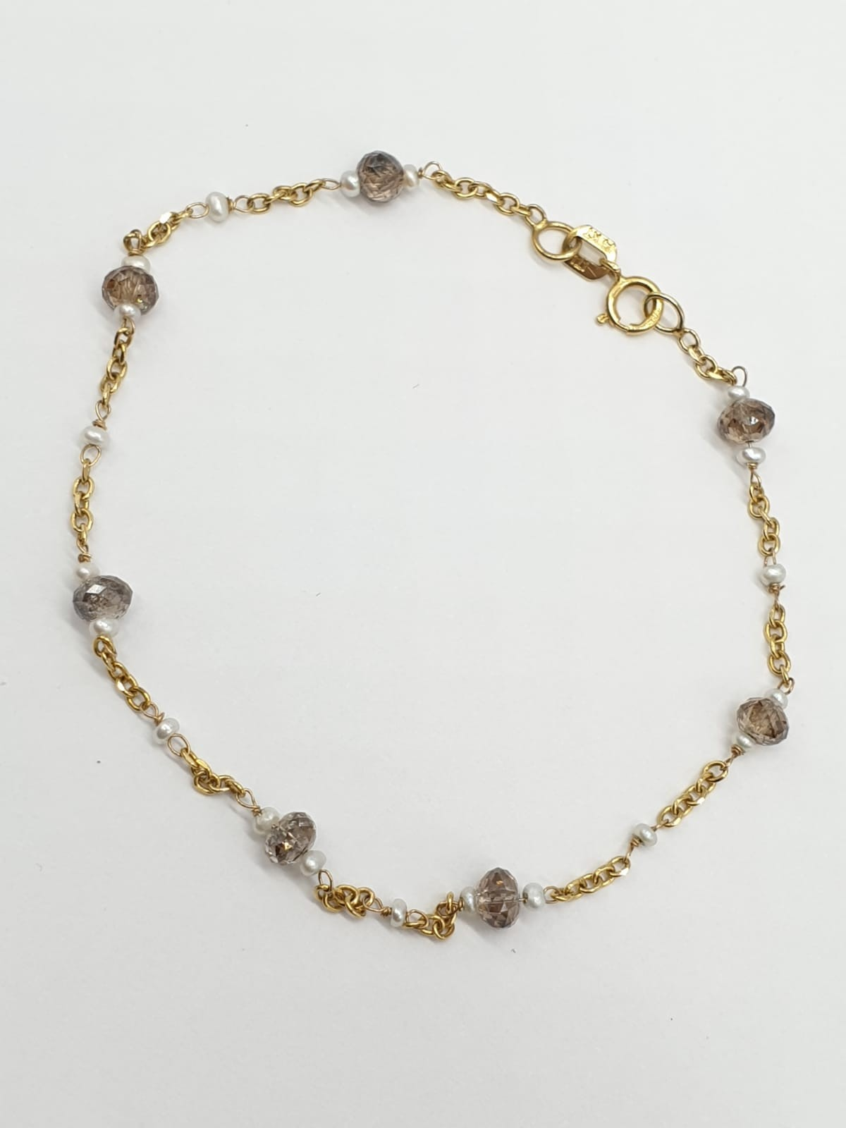 14ct gold brown diamond and pearl necklace with matching bracelet, total weight 5.6g and over 9ct - Image 2 of 6