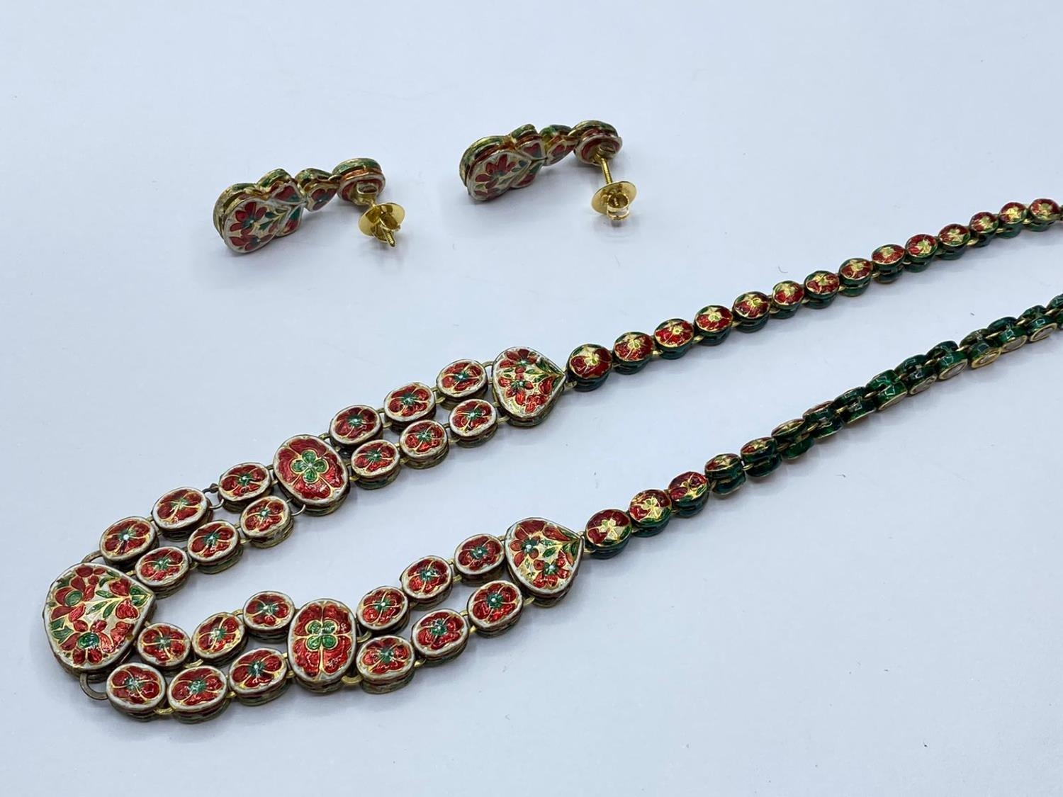 18k Indian set of Ruby and Rose Diamonds NECKLACE (40cm) and EARRINGS. 68g. - Image 7 of 9