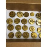 Antique fusee pocket watch movements etc . Some ticking some not , sold with no guarantees.
