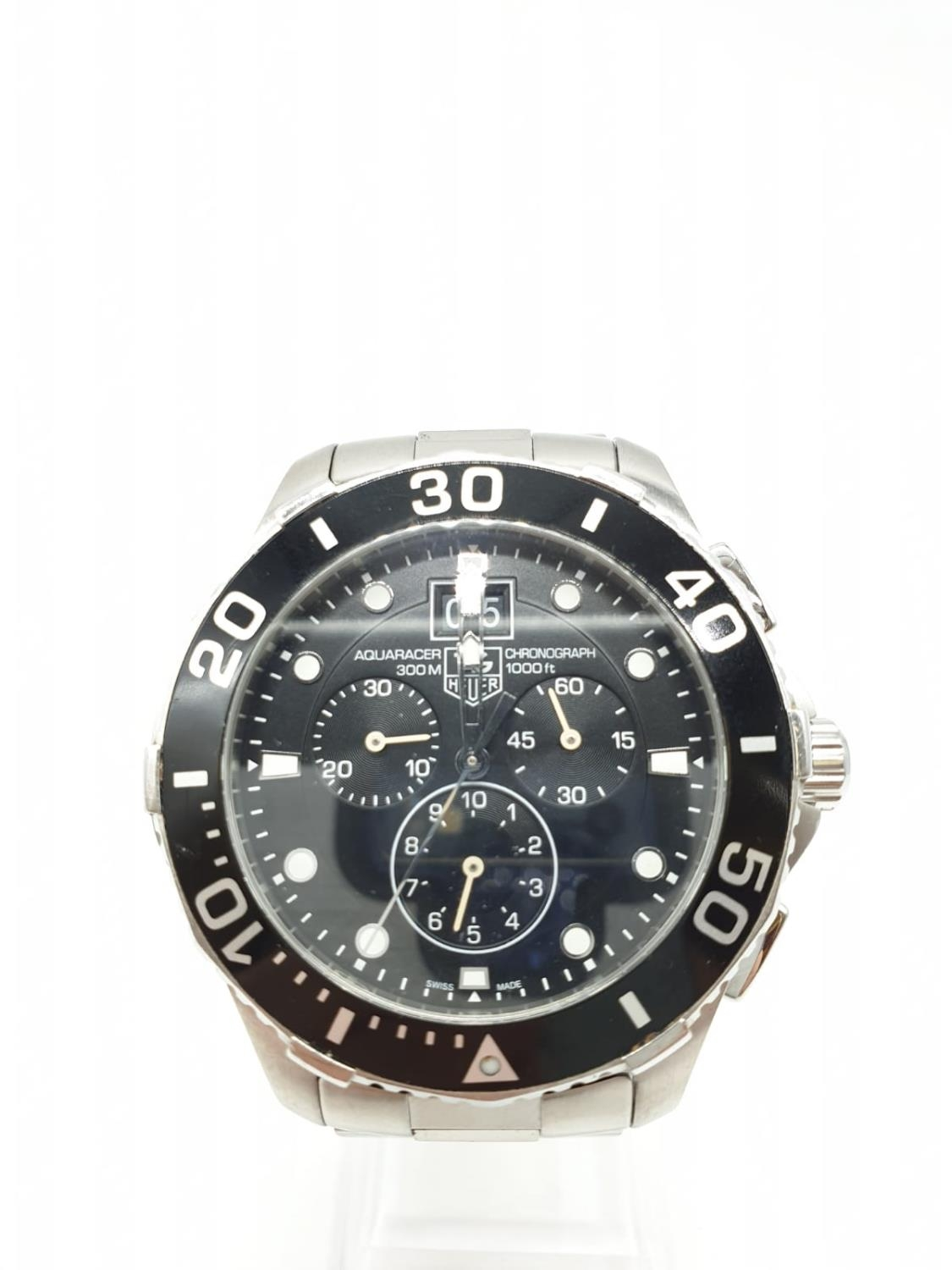 Tag Heuer gents chronograph Aquaracer watch, black face twisted bezel and steel strap, 44mm case - Image 5 of 14