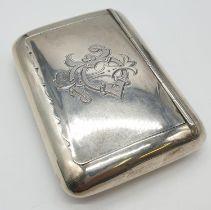 Antique Silver Snuff/Card box. Hallmarked to William M Hayes, Birmingham 1900. Length 8.5cm.