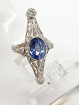 1940's art deco style ring with 4.50ct sapphire centre and 1ct diamonds approx, set in white gold (