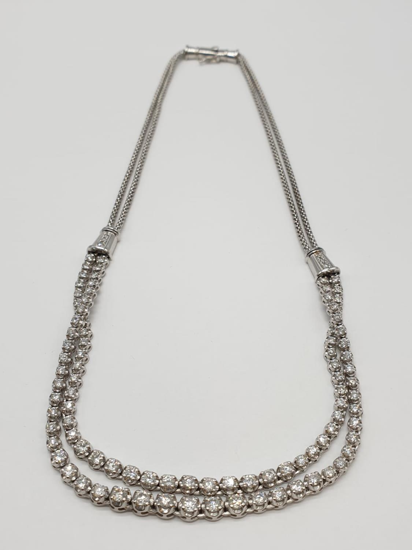 Platinum and Diamond Choker Necklace, double strand with graduated Diamonds (5ct Diamonds), 33g, - Image 3 of 9
