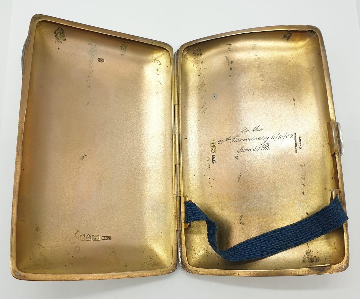 Edwardian John Millward Banks, Sterling Silver Cigarette Case Box with engraving on front, - Image 4 of 8