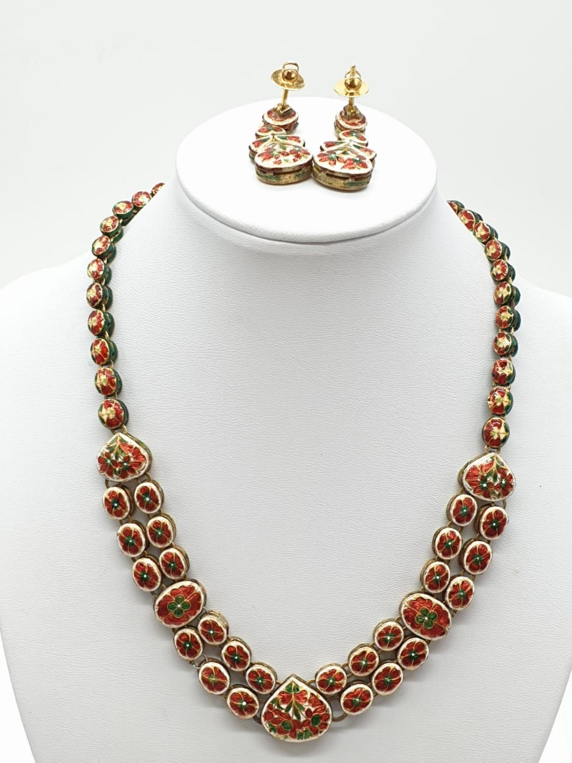 18k Indian set of Ruby and Rose Diamonds NECKLACE (40cm) and EARRINGS. 68g. - Image 2 of 9
