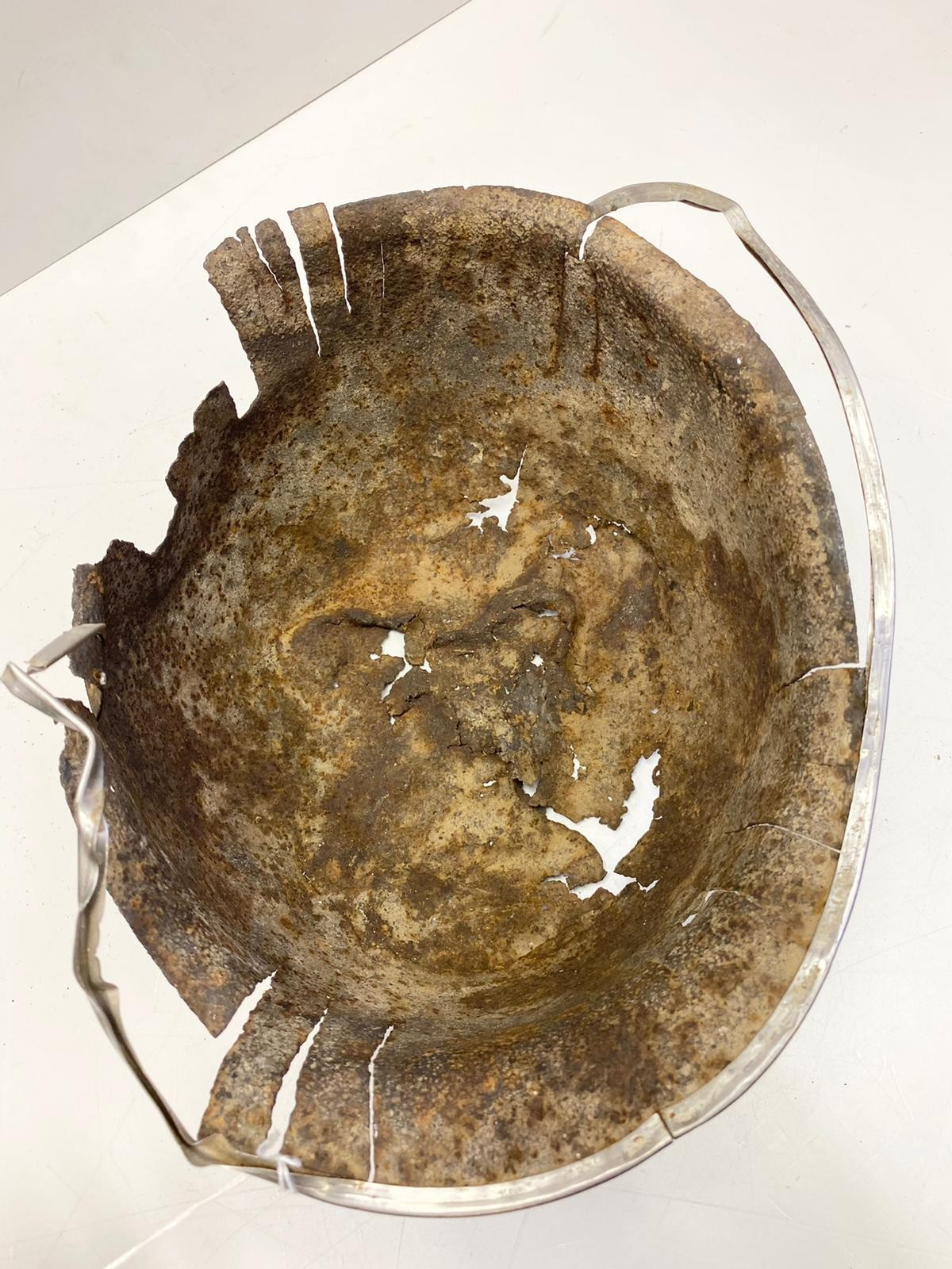 WW2 Normandy Relic Battle Damaged US M1 Helmet. Found under a hedge near St Lo. - Image 2 of 3