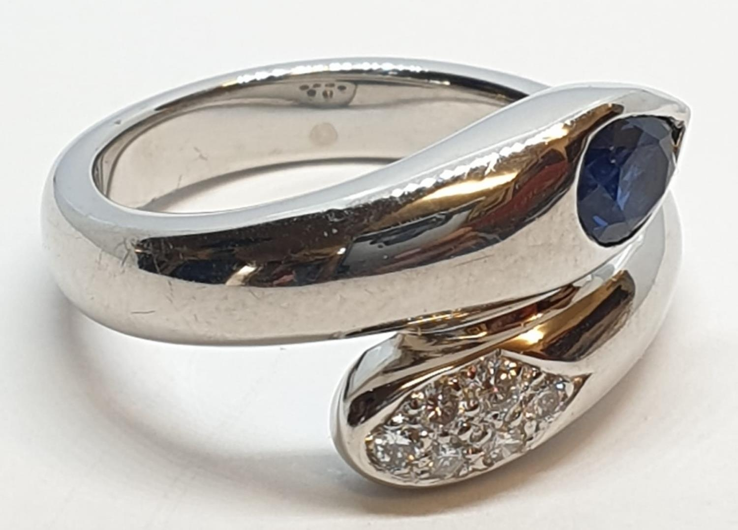 Platinum cross over ring with 0.60ct Thai sapphire and 0.30ct encrusted diamonds, weight 13.7g and - Image 6 of 10