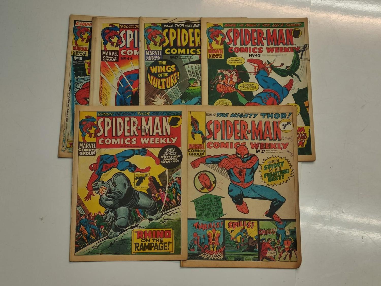 6 x Marvel comics. 1973 Spider-Man comics weekly.