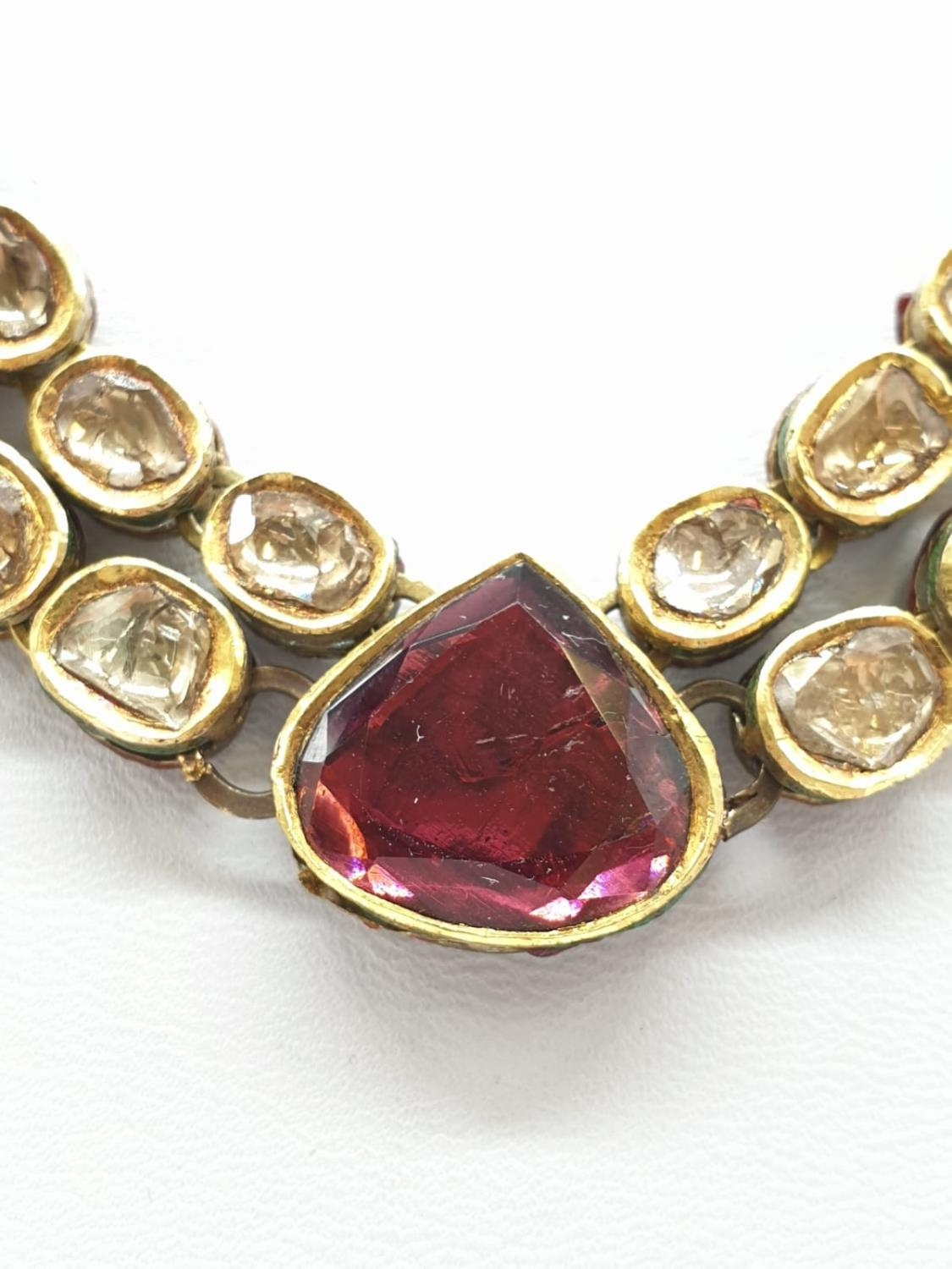 18k Indian set of Ruby and Rose Diamonds NECKLACE (40cm) and EARRINGS. 68g. - Image 8 of 9
