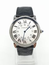 Vintage Cartier gents watch with white face Roman numerals and original black leather strap,