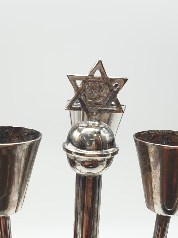 Vintage silver (925) menorah. Weight 253 grams, Height 28cm. - Image 3 of 5