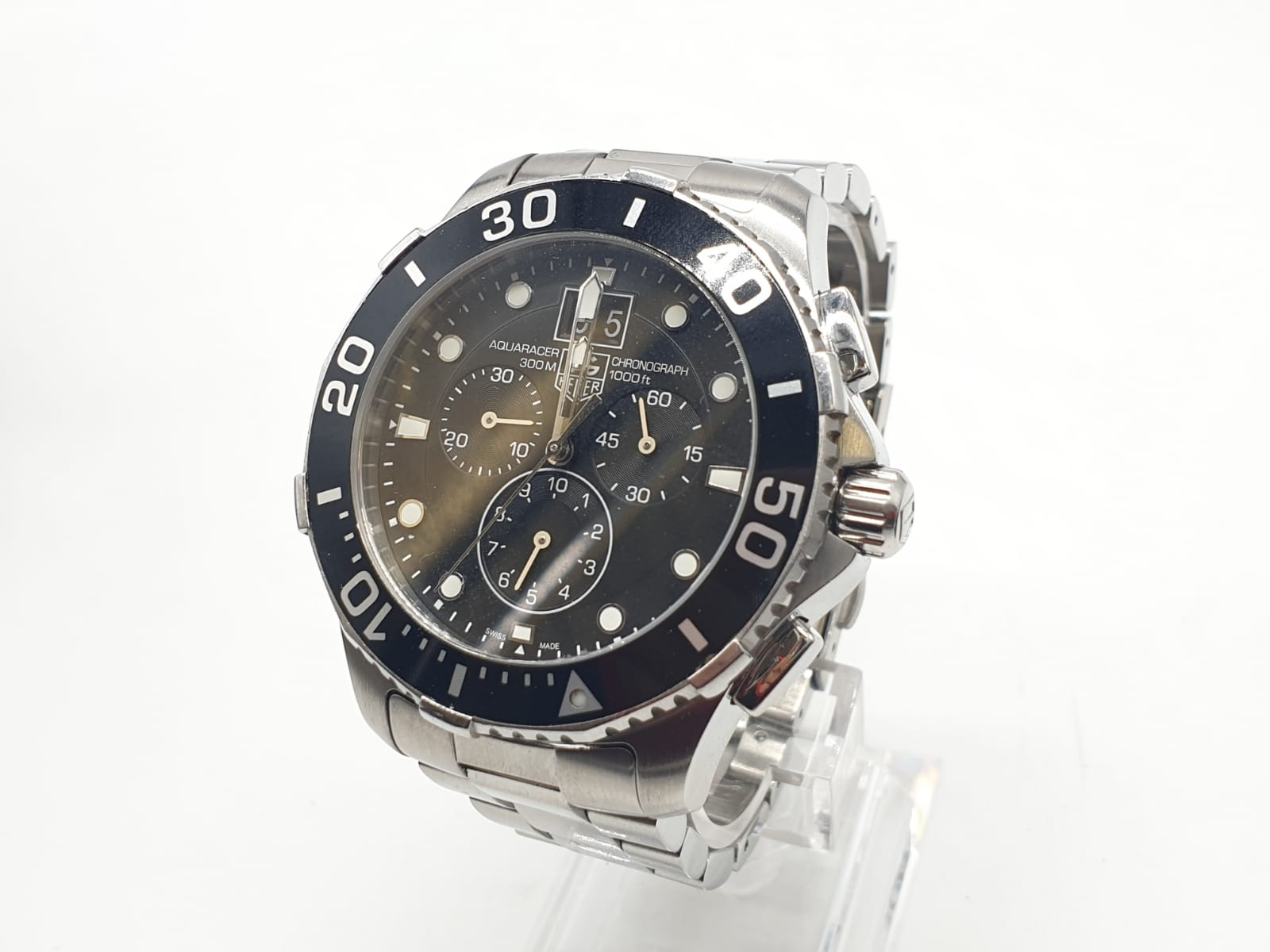 Tag Heuer gents chronograph Aquaracer watch, black face twisted bezel and steel strap, 44mm case - Image 4 of 14