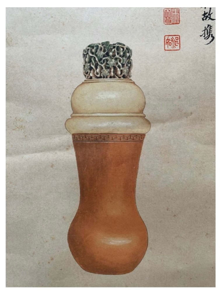 Ivory carved cricket jar with gourd vine pattern Chinese ink and watercolour on paper; Attribute - Image 2 of 4