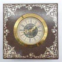 Vintage Mantle Wind-up Clock by Meccedes Phillip Skandetui Malmo, Swedish Designer. 10.5 x 10.5cm.