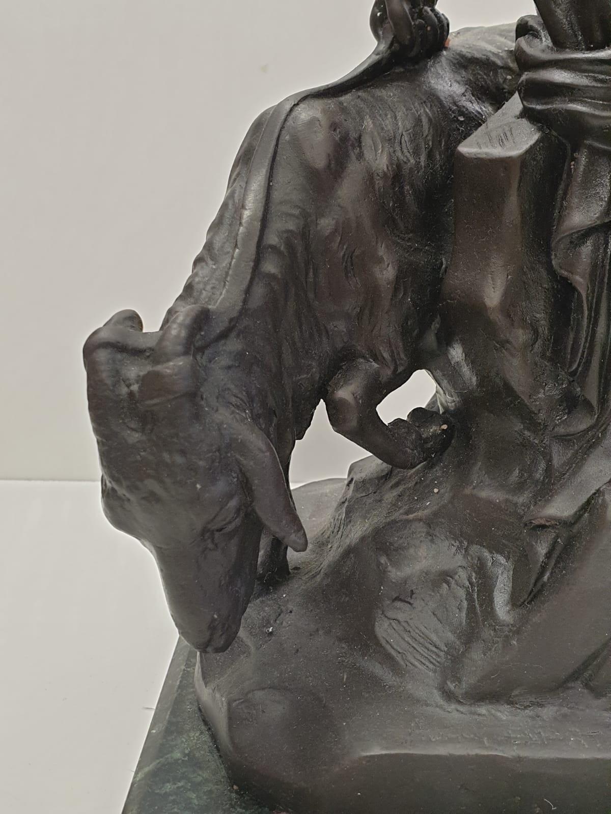 Bronze Pierre Julien figurine on plinth. 'Amalthea and Jupiter's Goat'. Height 45cm. Weight 9.7kg - Image 5 of 27
