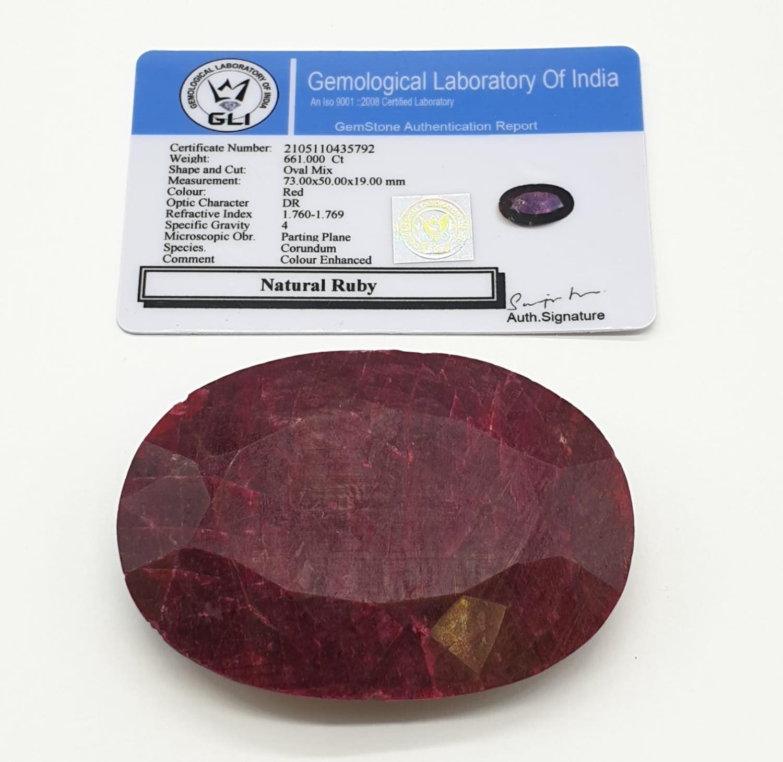 661ct Massive size rectangular Ruby Gemstone GLI CERTIFIED