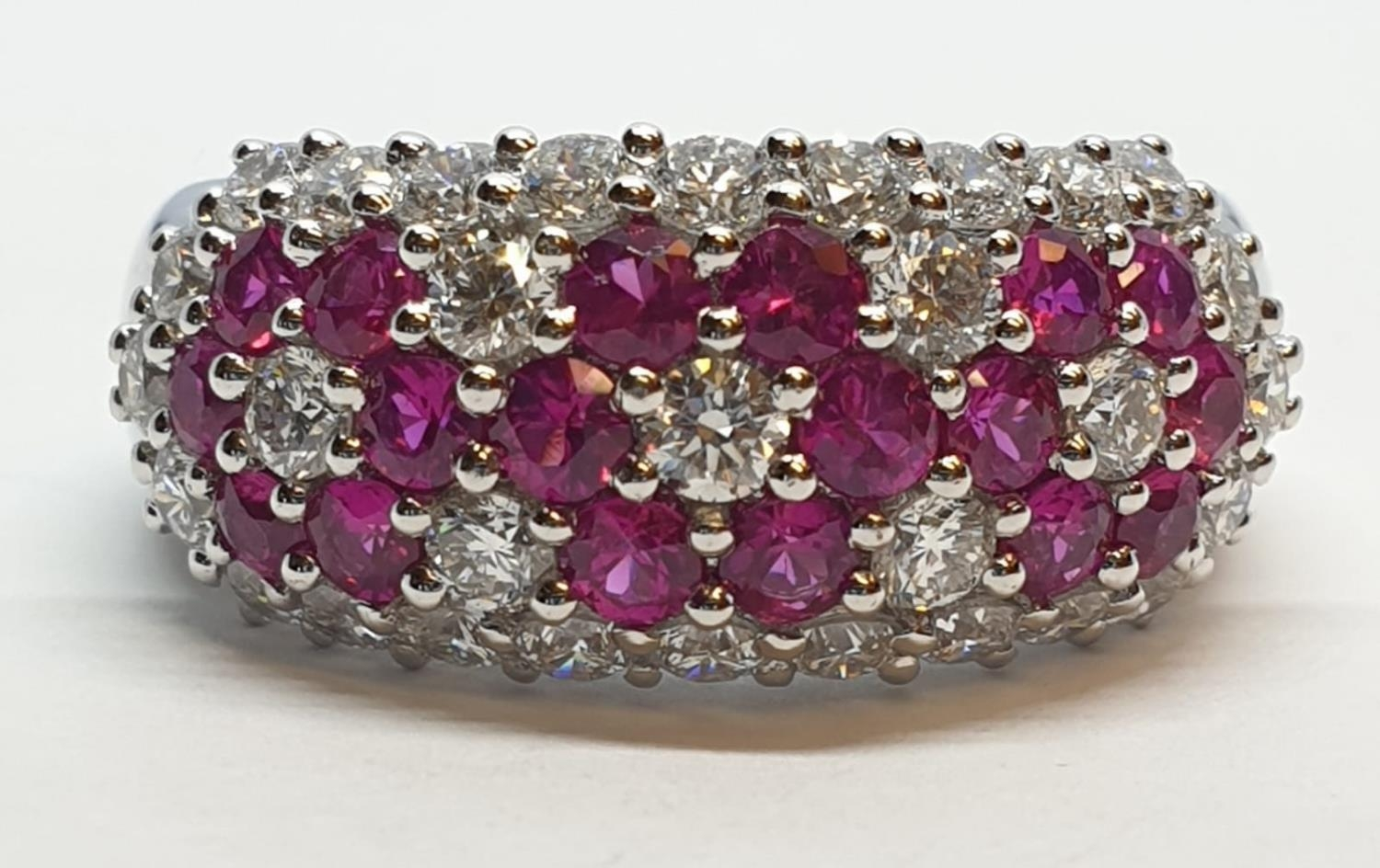 18ct white gold ring with over 1ct ruby and 1.8ct diamonds in flower design, weight 9.39g and size M - Image 5 of 11