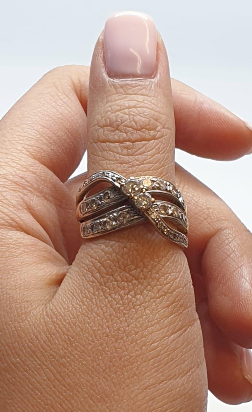 18ct Yellow gold diamond set fancy three row twist band ring. Weight 8.5g, Approx. 0.60ct of - Image 14 of 14