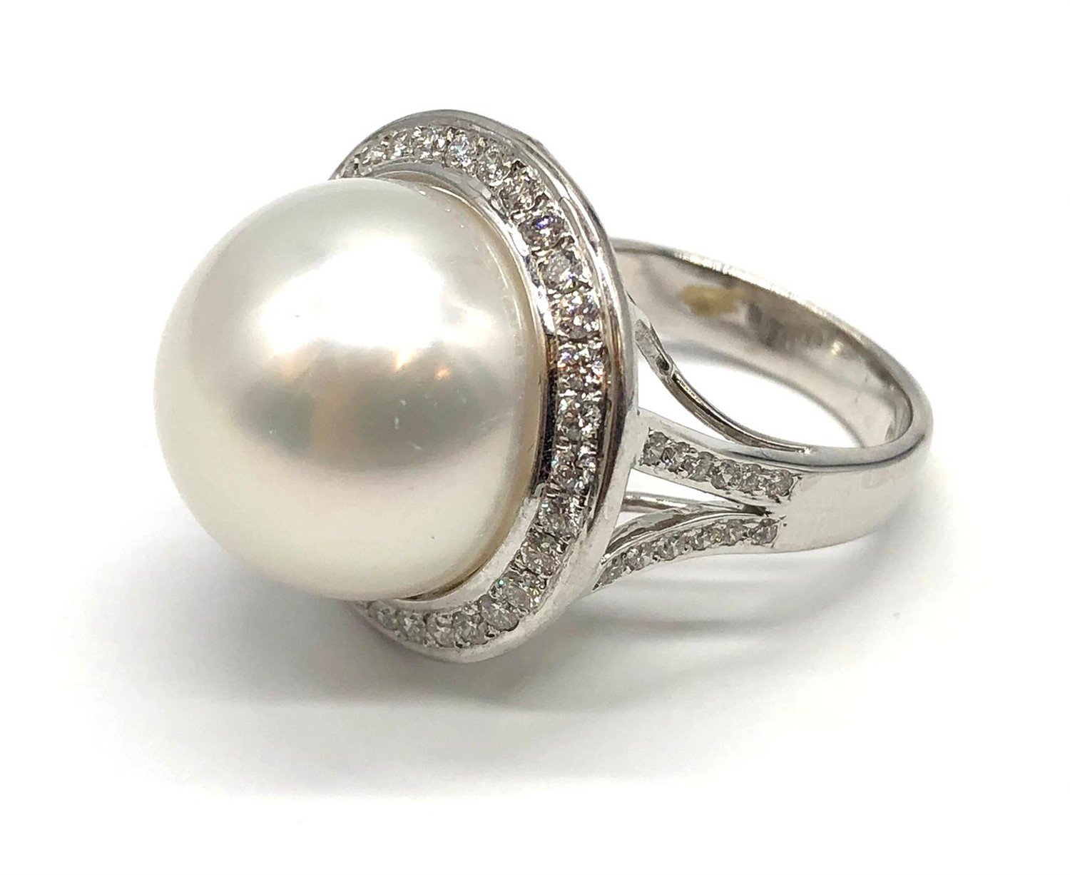 A large Kimoto pearl (17mm diameter) ring set in diamond and 18ct white gold ring, weight 14.43g and