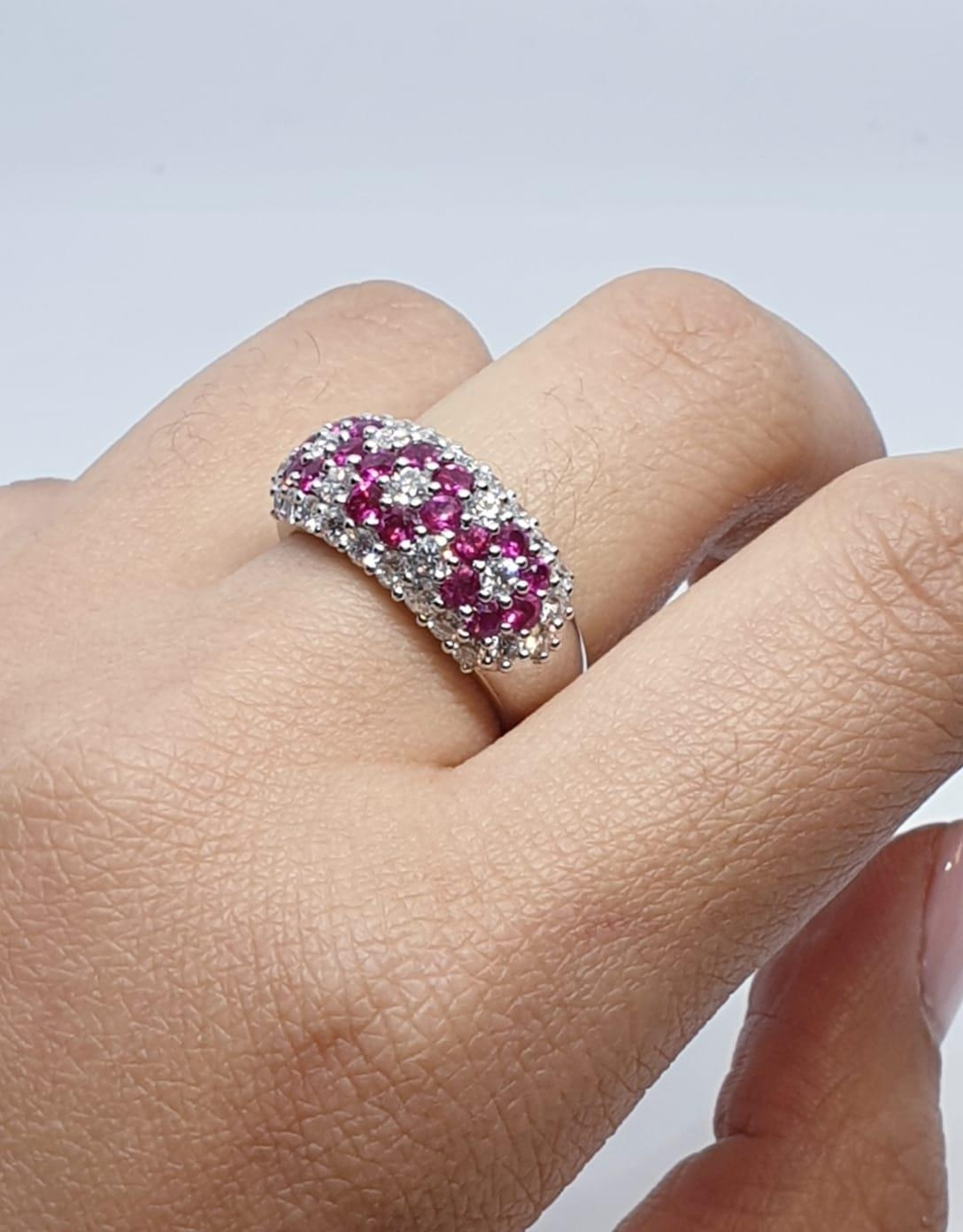 18ct white gold ring with over 1ct ruby and 1.8ct diamonds in flower design, weight 9.39g and size M - Image 8 of 11