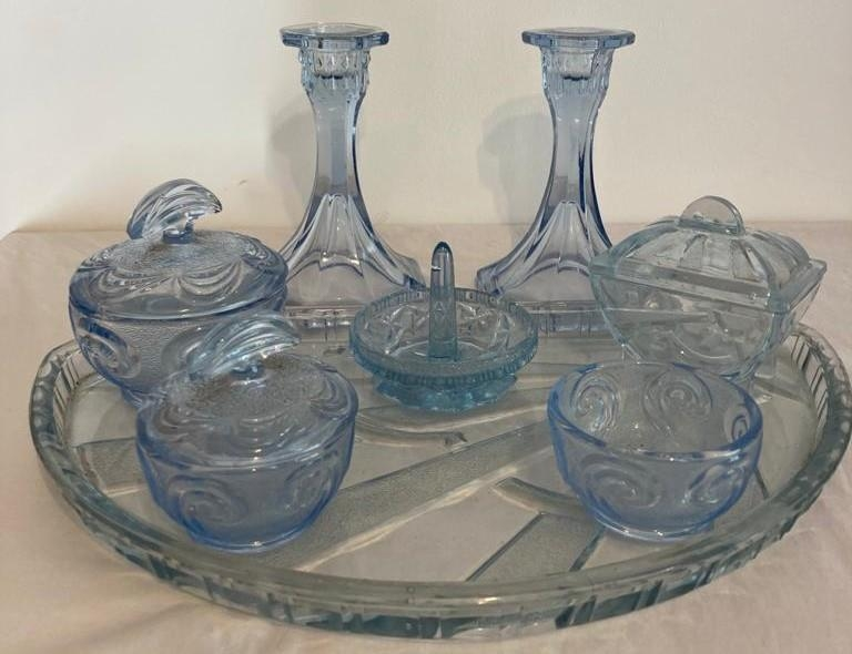 Art Deco 1920's Glass Dressing Table Pieces in Pale Blue Tones. To Include Glass Sun Ray Tray,