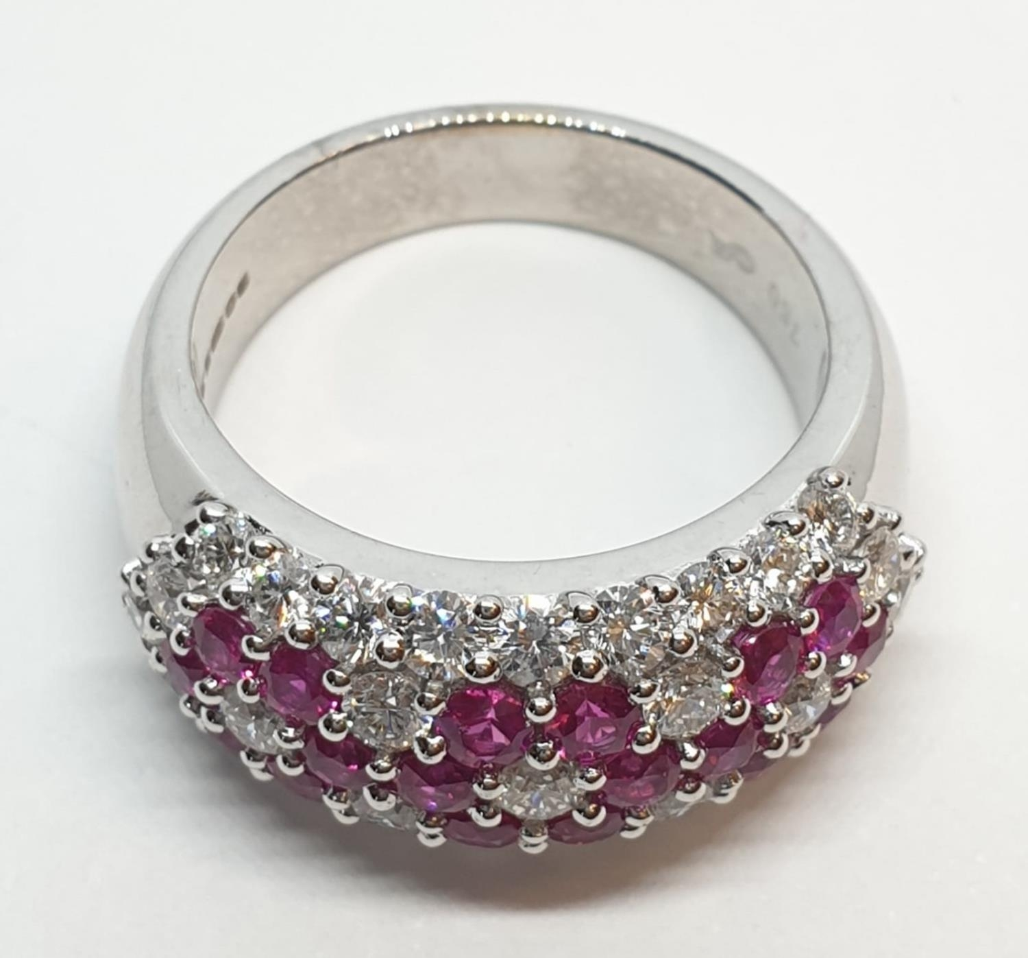 18ct white gold ring with over 1ct ruby and 1.8ct diamonds in flower design, weight 9.39g and size M - Image 4 of 11