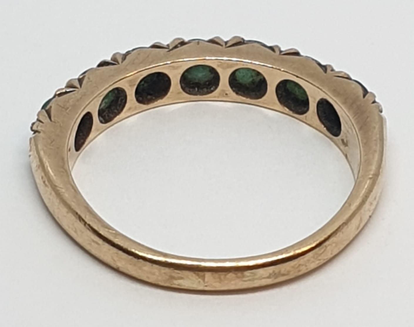 9ct Yellow gold emerald half eternity ring. Weight 2.8g, Size O. - Image 5 of 8