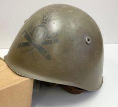 WW2 Italian 1933 Pattern Helmet with insignia to a Artillery Unit.