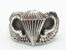 Heavy solid silver WW2 US Para Troopers Ring. Large size. Can be easily adjusted.