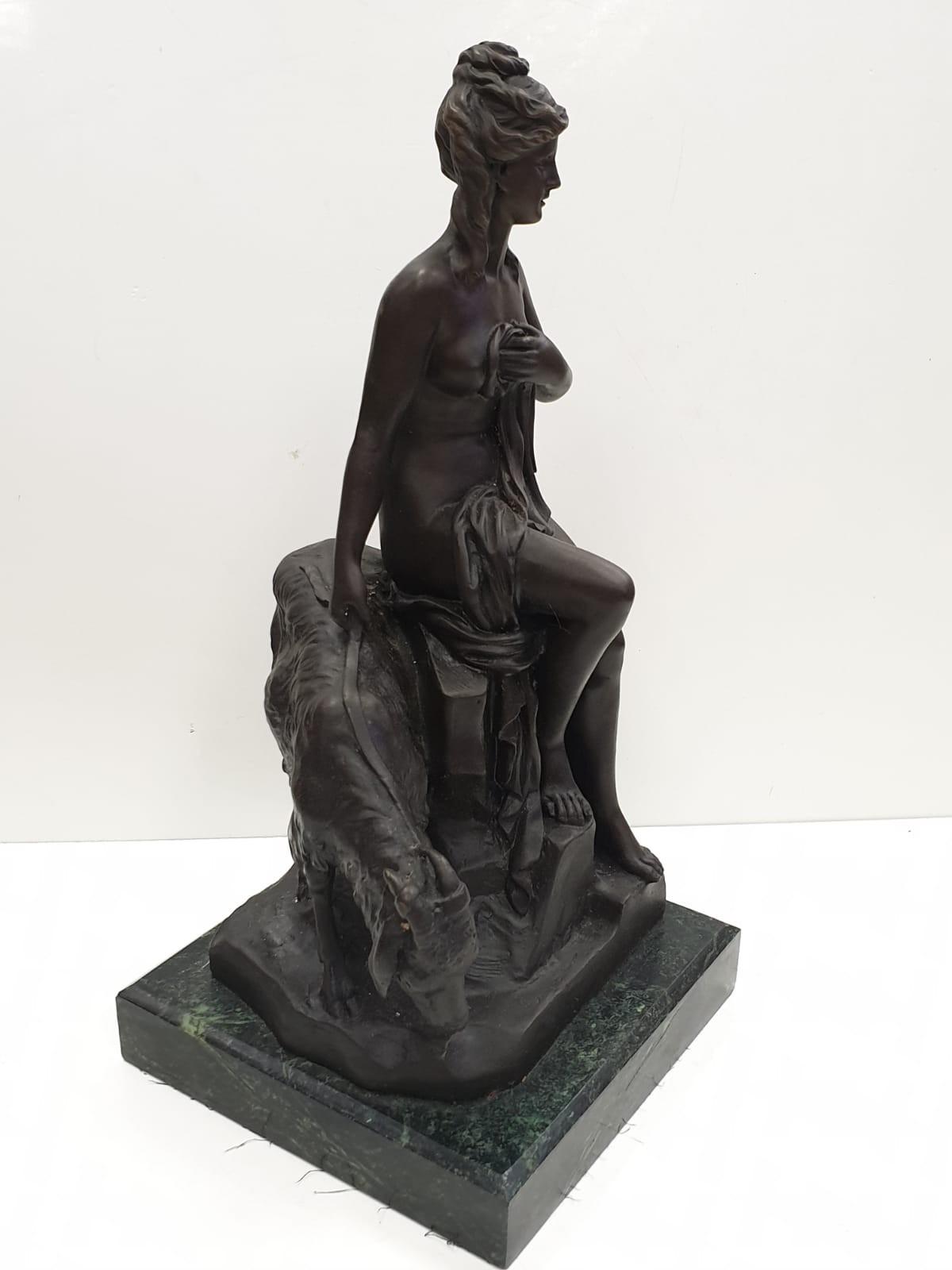 Bronze Pierre Julien figurine on plinth. 'Amalthea and Jupiter's Goat'. Height 45cm. Weight 9.7kg - Image 3 of 27