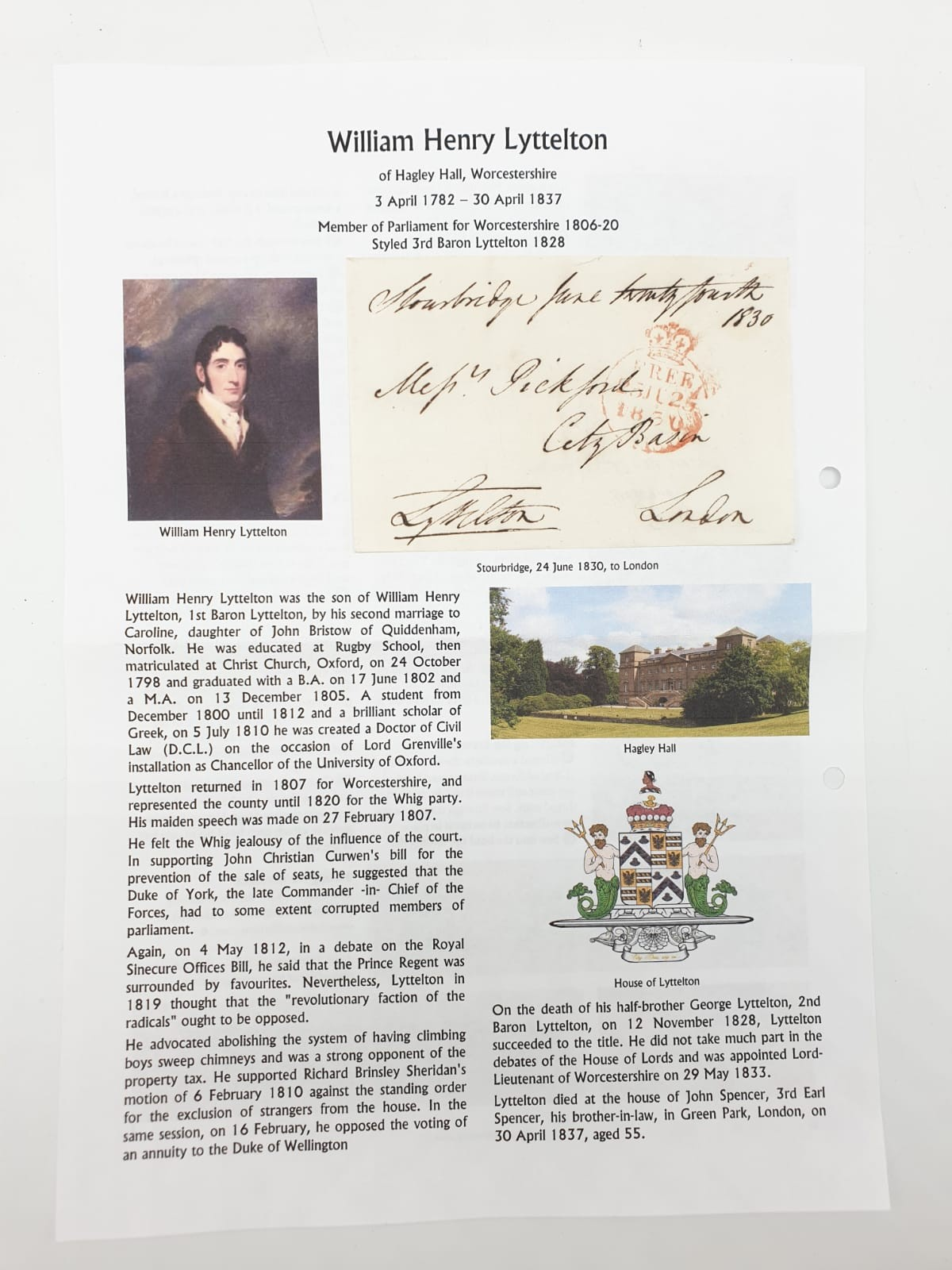 Five pre postage stamp letters by prominent people of the time (1830s) with manual stamp. - Image 2 of 5