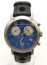 Chopard Geneve gents chronometer watch with rare blue face and leather strap, case 35mm and in