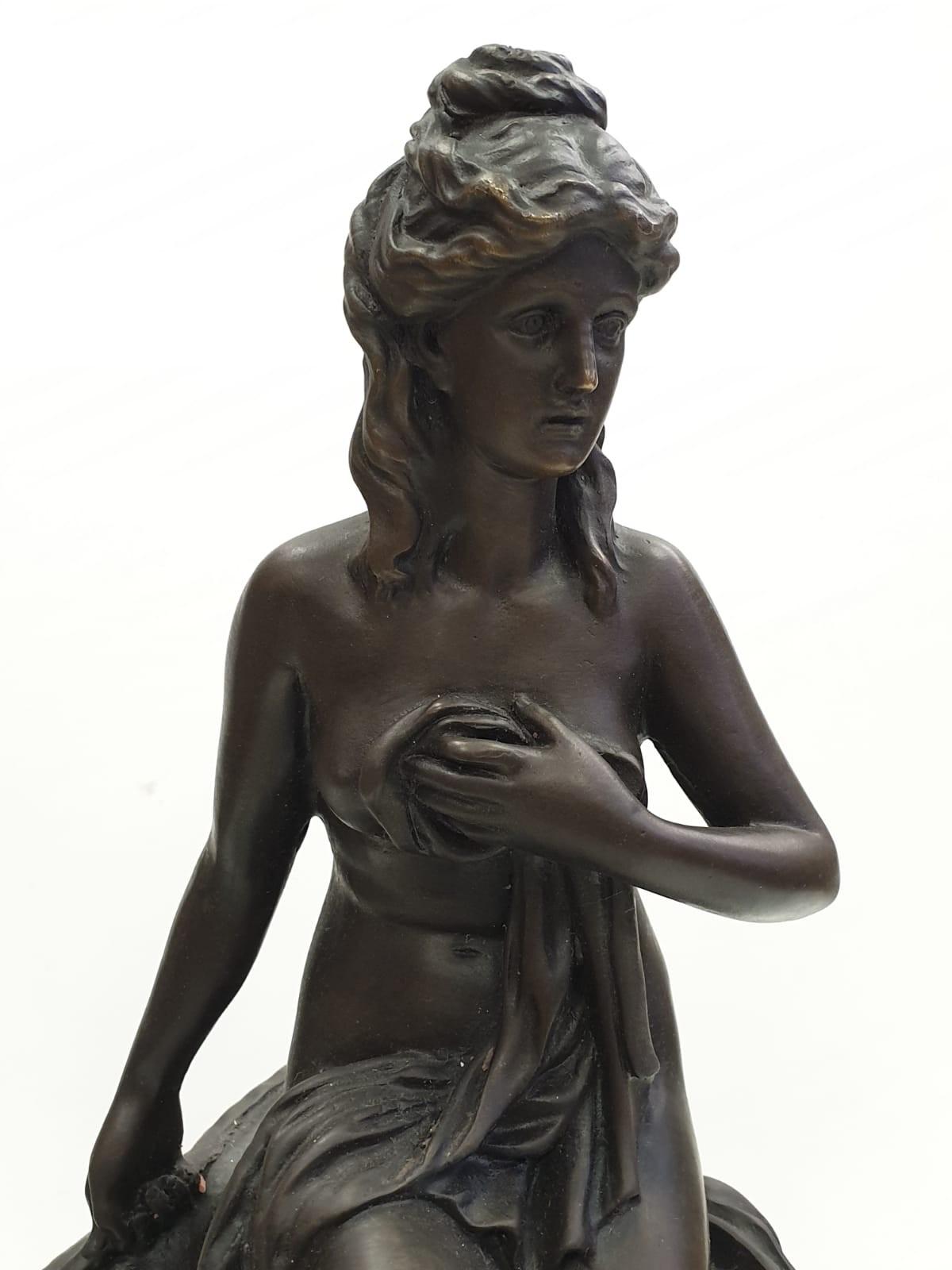 Bronze Pierre Julien figurine on plinth. 'Amalthea and Jupiter's Goat'. Height 45cm. Weight 9.7kg - Image 4 of 27