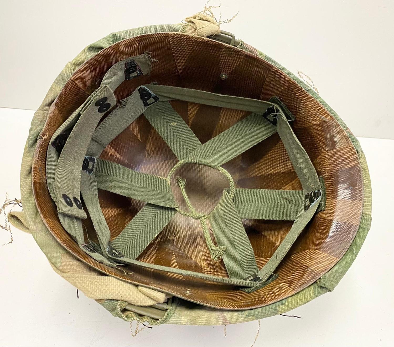 Vietnam War Era U.S.M.C Helmet. The Mitchel-Duck Hunter Reversible Helmet Cover is marked inside ? - Image 4 of 5