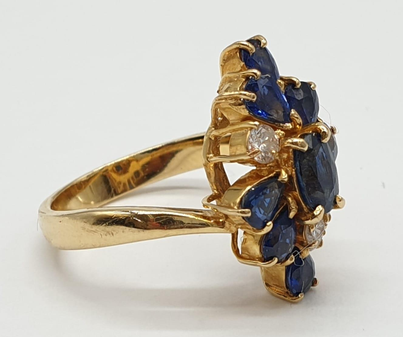 18ct Yellow Gold Cross Over Diamond and Sapphire Ring, Ring Size K, Weight 5.8g - Image 3 of 6