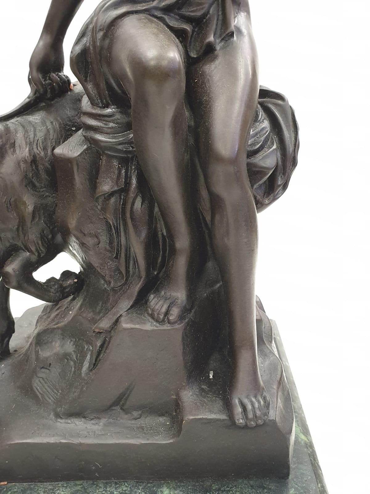 Bronze Pierre Julien figurine on plinth. 'Amalthea and Jupiter's Goat'. Height 45cm. Weight 9.7kg - Image 6 of 27