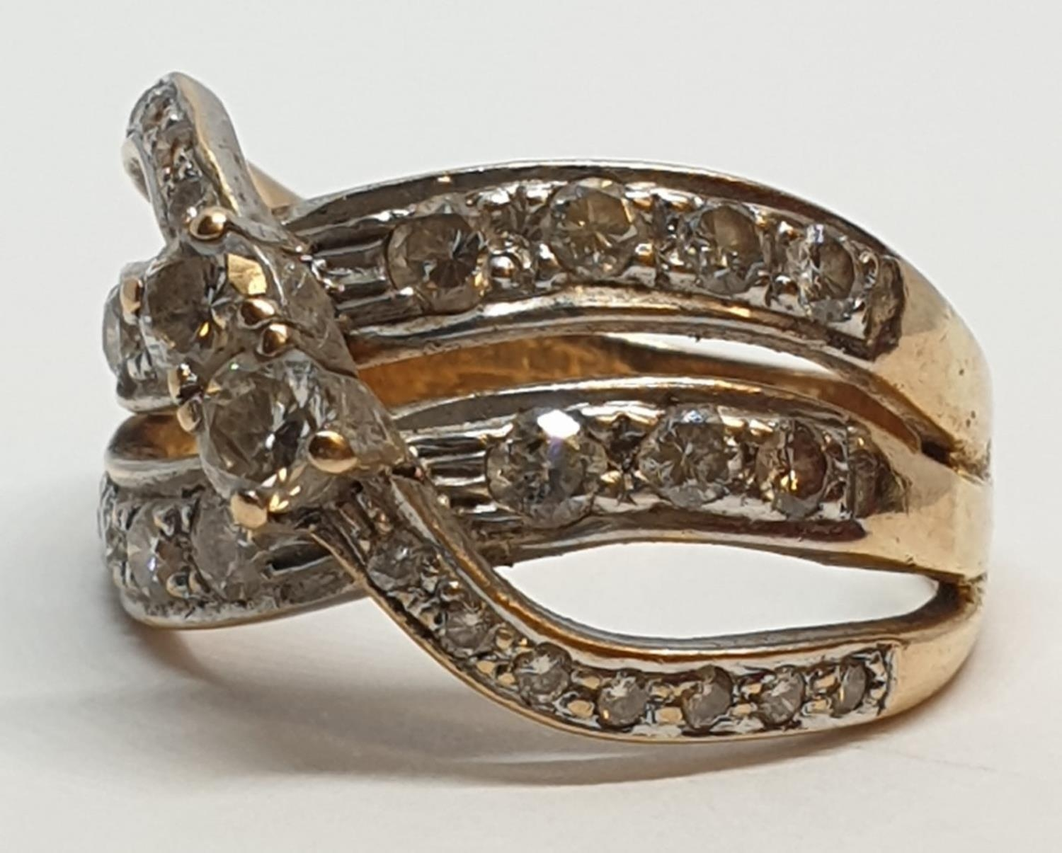 18ct Yellow gold diamond set fancy three row twist band ring. Weight 8.5g, Approx. 0.60ct of - Image 7 of 14